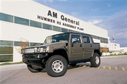 This is a photo of a commercial Hummer H2 model manufactured by AM General in Mishawaka