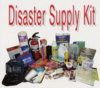 Example Disaster Supply Kit including items such as a fire extinguisher