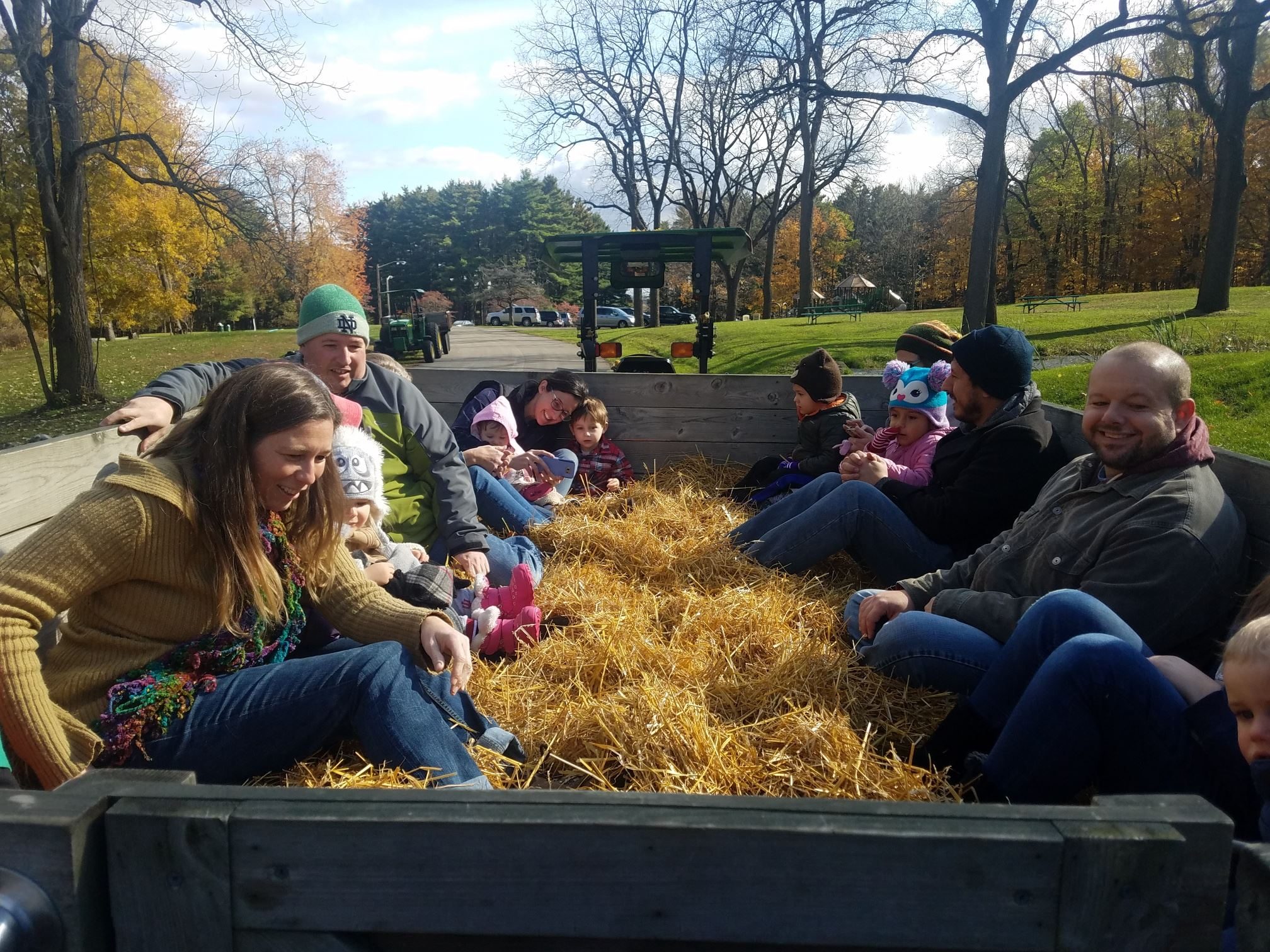 group enjoys fall hayride