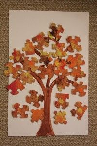 Recycled Puzzle Piece Tree